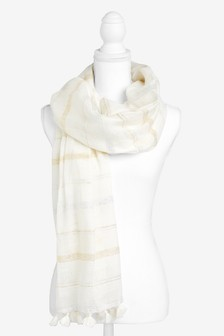 Cream Stripe Tassel Scarf