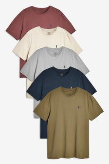 Rust Mix Crew Neck Regular Fit Stag T-Shirts 5 Pack