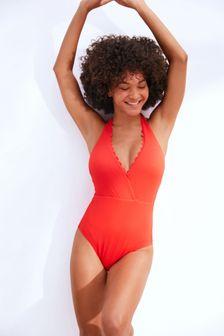 Red Scallop Halterneck Swimsuit