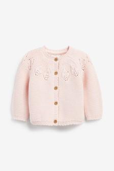 Pink Pointelle Detail Cardigan (0mths-2yrs)