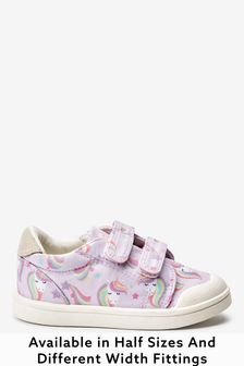 Lilac Unicorn Standard Fit (F) Canvas Bumper Toe Trainers (Younger)