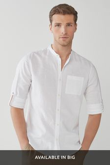 White Grandad Collar Regular Fit Linen Blend Roll Sleeve Shirt