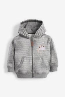 Grey Stripe Dino Appliqué Zip Through Hoody (3mths-7yrs)