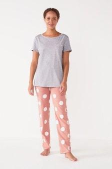Pink Spot Cotton Blend Pyjamas