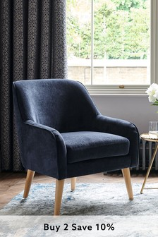 Fine Chenille Navy Ari Accent Chair With Light Legs
