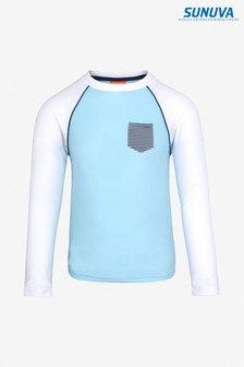 Sunuva Blue Colourblock Long Sleeve Rash Vest