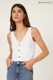 Warehouse White Pique V-Neck Button Vest