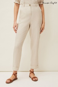 Phase Eight Neutral Florrie Cargo Linen Trousers