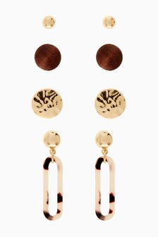 Tortoiseshell Effect Resin Multipack Earrings