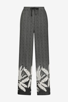 Monochrome Linen Blend Wide Leg Trousers