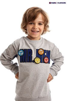 Fabric Flavours Grey Mr. Men Badgeables Sweatshirt