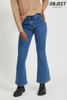 OBJECT Blue Cropped Boot Cut High Waist Denim Jeans