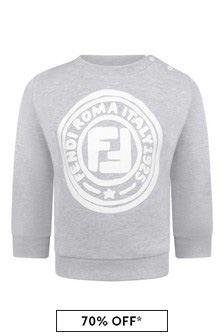 Baby Boys Grey Cotton Logo Sweater