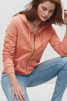 Orange Zip Through Hoodie