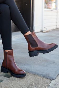 Chocolate Brown Regular/Wide Fit Forever Comfort® Chunky Chelsea Boots