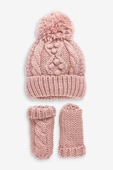 Pink Cable Hat And Mittens Set (Younger)