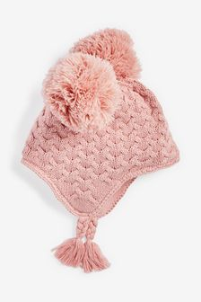 Pink Double Pom Cable Trapper Hat (0mths-2yrs)