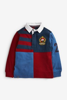 Berry/Navy Harlequin Rugby Polo Shirt (3-16yrs)