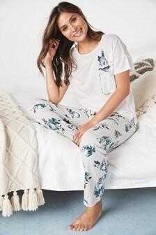 Oatmeal Bunny Print Cotton Blend Pyjamas