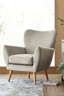 Fine Chenille Mid Grey Wilson Accent Chair With Light Legs