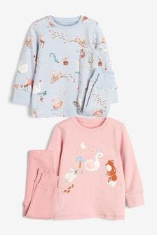 Pink/Blue Winter Character 2 Pack Pyjamas (9mths-12yrs)