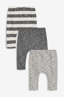 Monochrome Stripe 3 Pack Stretch Leggings (0mths-3yrs)