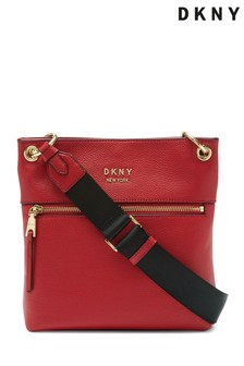 DKNY Red Gregorio Leather Crossbody Bag