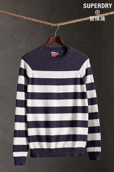 Superdry Orange Label Striped Cotton Crew Jumper