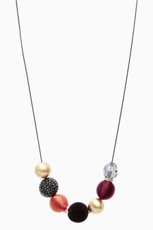 Multicolour Velvet Beaded Long Necklace