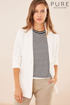 Pure Collection White Longline Linen Blazer