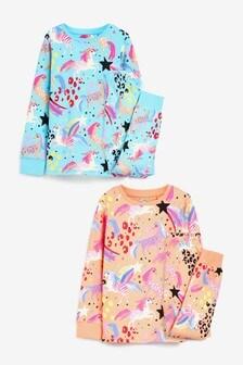 Peach/Blue 2 Pack Unicorn Pyjamas (3-16yrs)