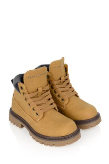Kids Tan Lace-Up Boots