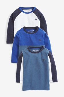 Blue 3 Pack Colourblock T-Shirts (3mths-7yrs)