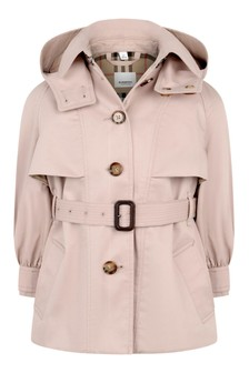 Pink Girls Pink Cotton Trench Coat