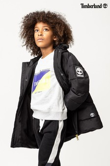 Timberland® Black Padded Jacket With Faux Fur Hood