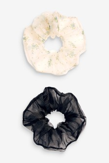 Black and Floral Organza Large Scrunchies
