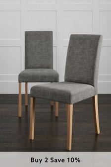 Boucle Weave Dark Grey Set Of 2 Rae Dining Chairs With Natural Legs