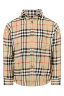 Boys Beige Vintage Check Cotton Shirt