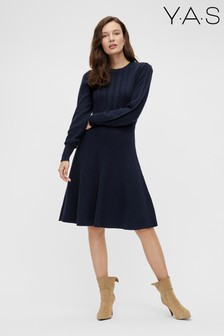 Y.A.S Navy Knitted Salvi Dress