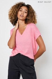 Mint Velvet Pink V-Neck Knitted Top