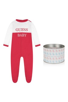 White & Red Cotton Babygrow