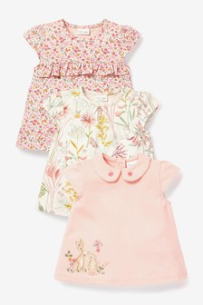 Pink/White 3 Pack Organic Cotton Bunny And Floral T-Shirts (0mths-3yrs)