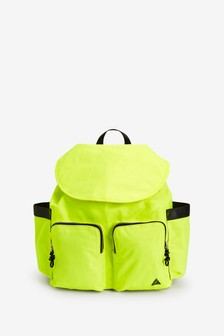 Lime Multiple Pocket Drawstring Rucksack