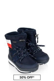 Boys Navy Logo Flag Snow Boots