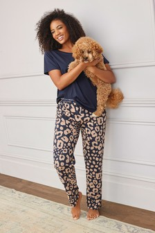 Navy Animal Cotton Pyjamas