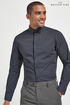 Navy Print Slim Fit Single Cuff Motion Flex Shirt