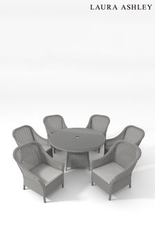 Saunton Dove Grey Bourton Dining Set with 6 Dining Chairs by Laura Ashley