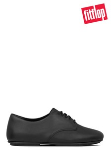 FitFlop™ Black Adeola Leather Lace-Up Derby Shoes
