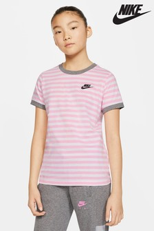 Nike White/Pink Ringer T-Shirt