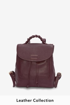 Berry Leather Plaited Top Handle Rucksack